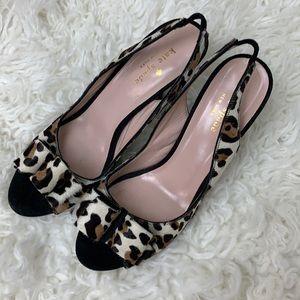 Kate Spade Pony Hair Leopard Slingback Size 8